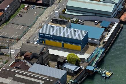 上空から  木津川の渡船所「落合上ノ渡」に隣接。